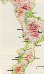 Particolare della calabria con identificazione geografica di Temesa e Terina.