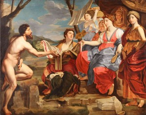 Copia di un'opera seicentesca che rappresenta l'incontro di Ulisse con Nausicaa.