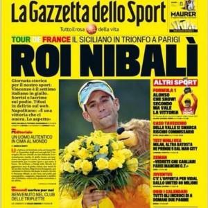 Gazzetta dello Sport tutta gialla in onore della vittoria di Nibali