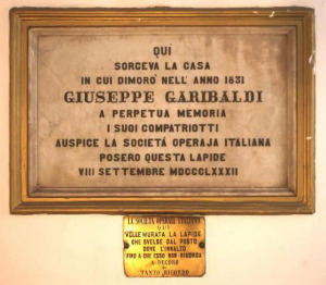 Targa casa Garibaldi