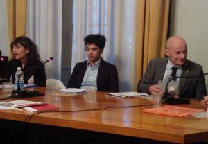 Da sinistra Stefania Manca, responsabile fondi europei, Massimiliano Salvo giornalista di La Repubblica e L'Espresso e Germano Gadina Presidente Coldiretti Liguria