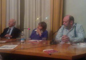 Da sinistra Giampiero Ielli Presidente Circolo Arci Pinetti, Miriam Pastorino e Mauro Lani Associazione papà separati Liguria