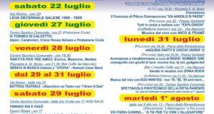Il programma della festa patronale di Sant'Anna 2017 a Sale, spettacolo pirotecnico lunedì 31 luglio 2017
