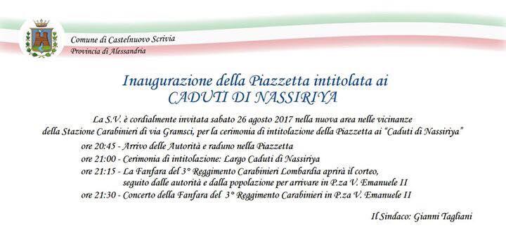 Programma inaugurazione della Piazzetta intitolata ai Caduti di Nassiriya a Castelnuovo Scrivia