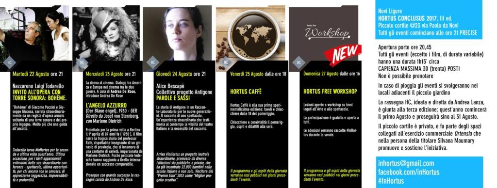 Programma settimanale hortus conclusus a Novi Ligure
