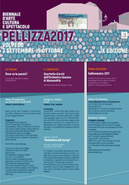 Il programma del 5° fine settimana della IX biennale di Volpedo