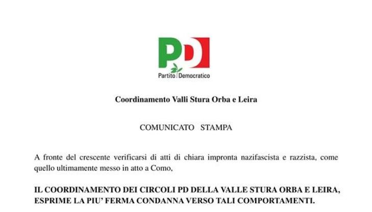 """PD Valli del SOL: """"ferma condanna ai fatti di Como"""""""