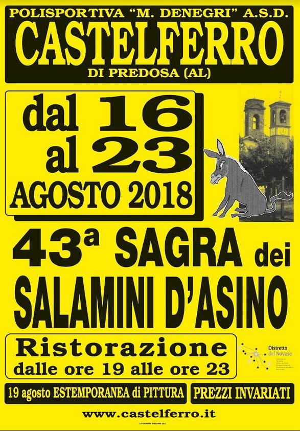 Castelferro di Predosa, tutto pronto per la 43°Sagra dei Salamini d'asino